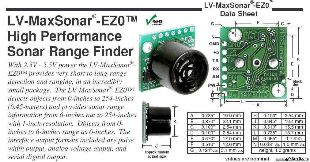MB1010 LV-MaxSonar-EZ1 Range Finder - Amazonin