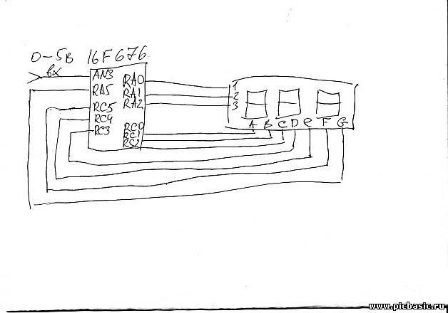 Схема вольтметра на pic16f676 Бортовой компьютер.